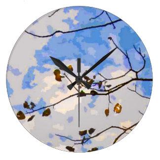 El otoño ramifica reloj de pared abstracto