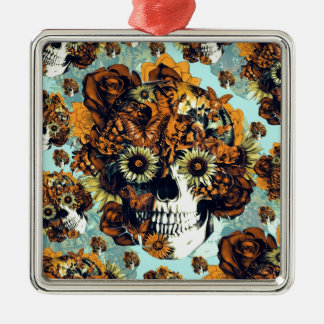 El otoño subió el cráneo en suavemente azul y adorno navideño cuadrado de metal
