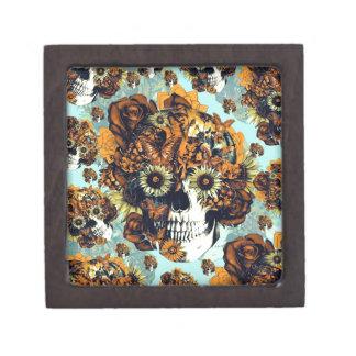 El otoño subió el cráneo en suavemente azul y nara caja de joyas de calidad