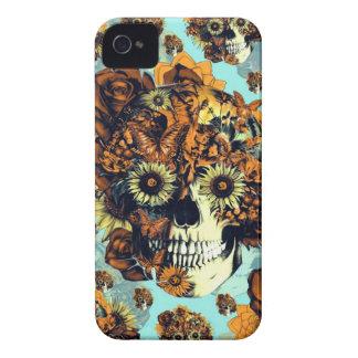 El otoño subió el cráneo en suavemente azul y nara iPhone 4 fundas