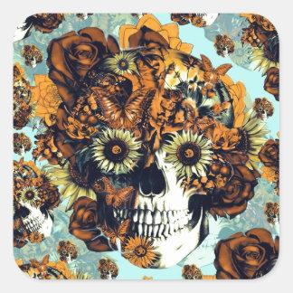 El otoño subió el cráneo en suavemente azul y pegatina cuadrada