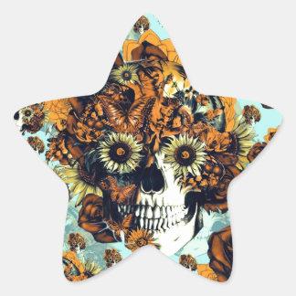 El otoño subió el cráneo en suavemente azul y pegatina en forma de estrella