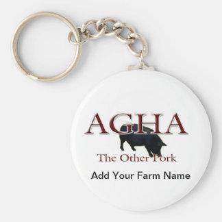 El otro cerdo, añade su nombre de la granja llavero redondo tipo pin