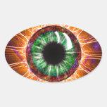 El otro de Tesla arte del fractal del ojo Calcomania Oval