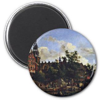 El Oudezijds Voorburgwal y el Oude Kerk en el AMS Imán Redondo 5 Cm