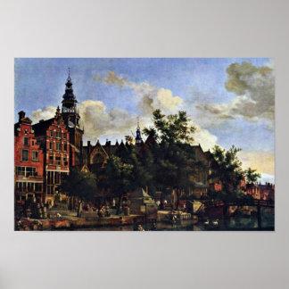 El Oudezijds Voorburgwal y el Oude Kerk en el AMS Póster