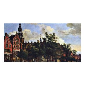 El Oudezijds Voorburgwal y el Oude Kerk en el AMS Tarjeta Fotográfica Personalizada