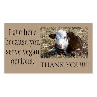 El Outreach del vegano le agradece las tarjetas Tarjetas De Visita