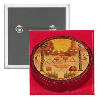 El óvalo pintó la caja, con símbolos del Freemason