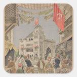 El pabellón turco en el universal calcomania cuadradas personalizadas