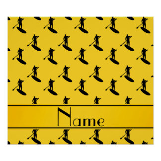 El paddleboarding negro amarillo conocido póster