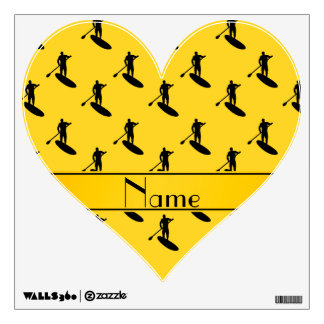 El paddleboarding negro amarillo conocido vinilo