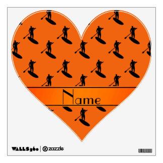 El paddleboarding negro anaranjado conocido vinilo decorativo