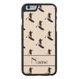 El paddleboarding negro blanco conocido funda de iPhone 6 carved® de arce