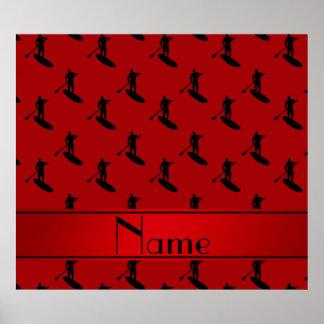 El paddleboarding negro rojo conocido póster