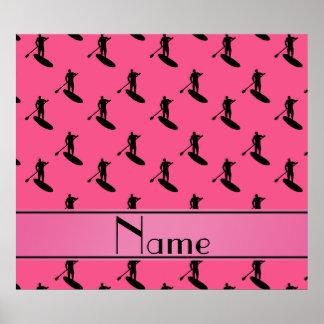 El paddleboarding negro rosado conocido póster