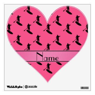 El paddleboarding negro rosado conocido vinilo