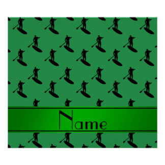 El paddleboarding negro verde conocido póster