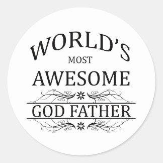 El padre más impresionante de dios del mundo pegatina redonda