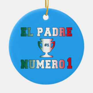 El Padre Número 1 #1 Dad in Spanish Father's Day Double-Sided Ceramic Round Christmas Ornament