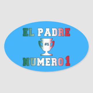 El Padre Número 1 #1 Dad in Spanish Father's Day Oval Sticker