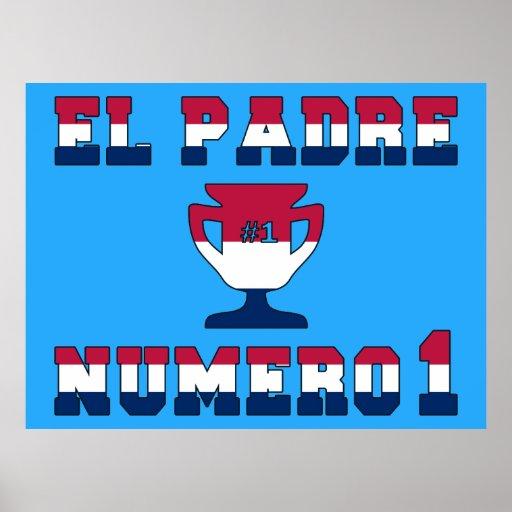 EL Padre Número 1 en colores de la bandera america Poster