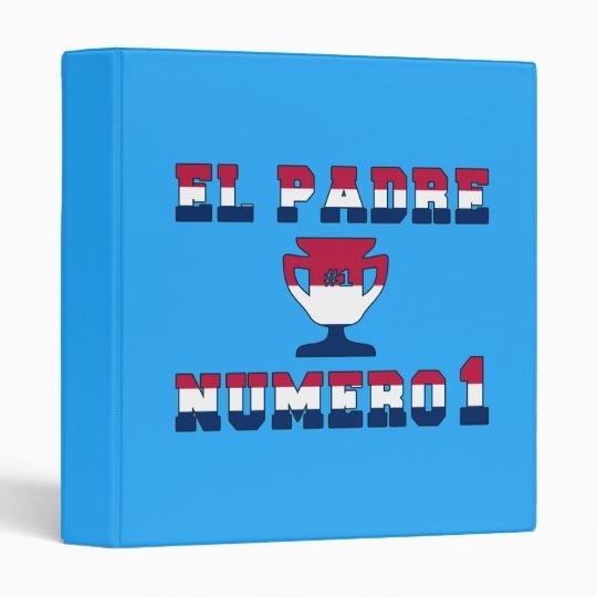 El Padre Número 1 in American Flag Colors 3 Ring Binder