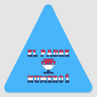 El Padre Número 1 in American Flag Colors Triangle Sticker