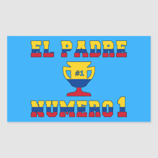El Padre Número 1 - Number 1 Dad in Colombian Rectangular Sticker