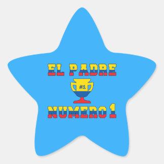 El Padre Número 1 - Number 1 Dad in Ecuadorian Star Sticker