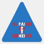EL Padre Número 1 - papá del número 1 en Peruvian Pegatina Triangular