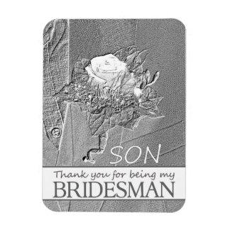 El padrino de boda del hijo le agradece imán foto rectangular