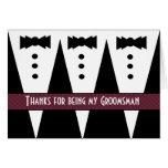 El padrino de boda le agradece - tres smokinges -  tarjetas