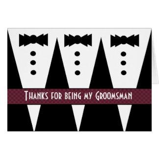 El padrino de boda le agradece - tres smokinges -  tarjeta