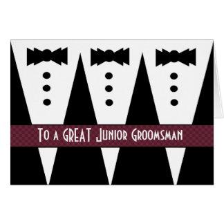 El padrino de boda menor le agradece - tres smokin tarjeton