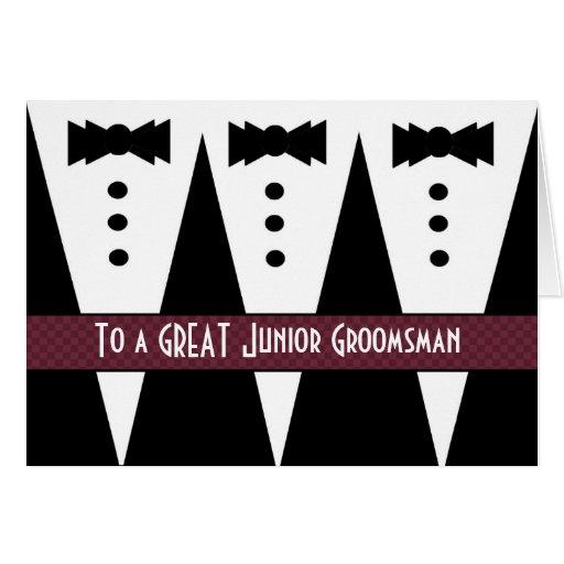 El padrino de boda menor le agradece - tres tarjeta de felicitación