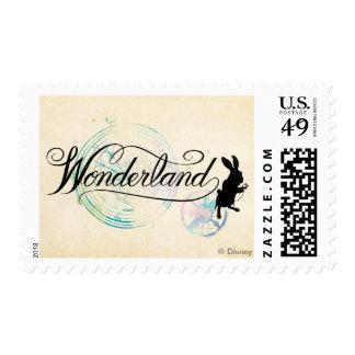 El país de las maravillas blanco del conejo el   sellos postales