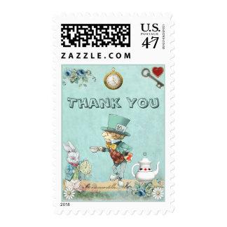 El país de las maravillas enojado del sombrerero timbre postal