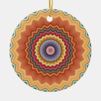 El país del caleidoscopio del zigzag colorea el adorno redondo de cerámica