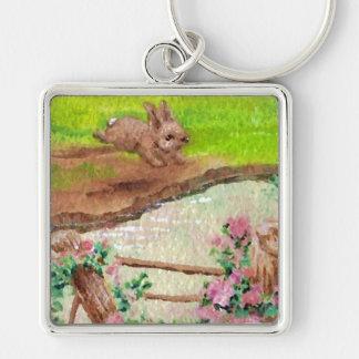 El país del conejito del campo florece el conejo d llavero cuadrado plateado