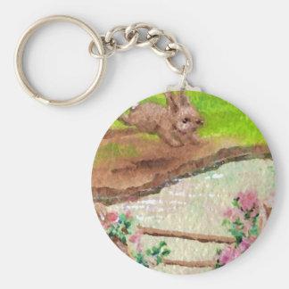 El país del conejito del campo florece el conejo d llavero redondo tipo pin