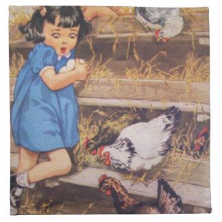 El país embroma el Servilleta-Chica y pollos de la Servilletas De Papel