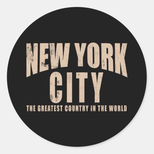 El país más grande de New York City en el mundo Etiqueta Redonda