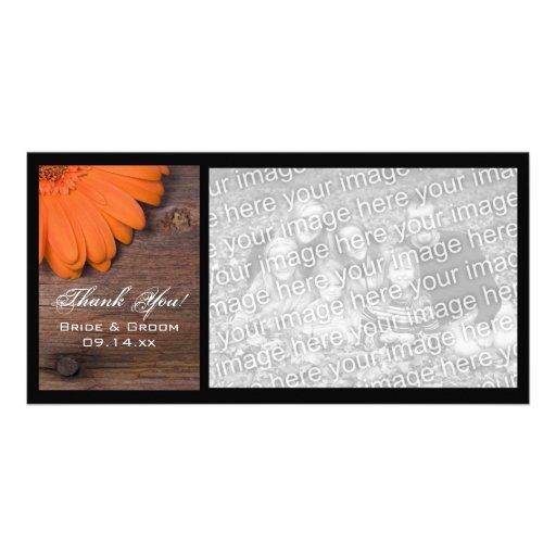 El país rústico de la margarita anaranjada le agra tarjeta fotografica personalizada