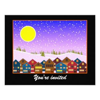 El paisaje con las casas y el navidad de la nieve invitaciones personales