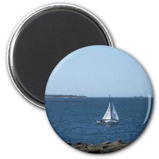 El paisaje costero de Maine Imán Redondo 5 Cm