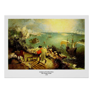 El paisaje de Bruegel con la caída de Ícaro - 1558 Poster