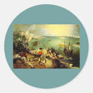 El paisaje de Bruegel con la caída de Ícaro - 1558 Etiqueta Redonda