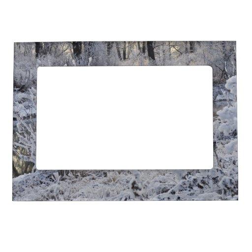 El paisaje del invierno del blanco nevado con la l marcos magneticos de fotos