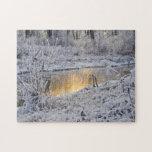 El paisaje del invierno del blanco nevado con la l rompecabeza
